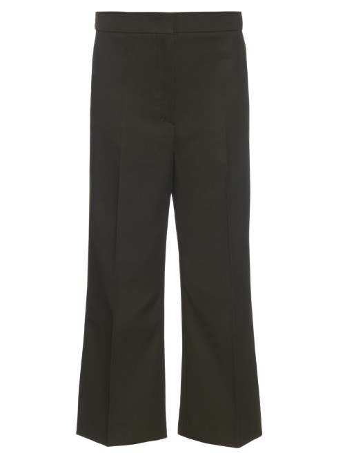 Garda Trousers - length: standard; pattern: plain; style: palazzo; waist: mid/regular rise; predominant colour: dark green; fibres: cotton - mix; fit: wide leg; pattern type: fabric; texture group: woven light midweight; occasions: creative work; season: s/s 2016; wardrobe: highlight
