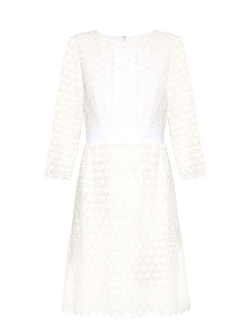 Nolly Dress - style: shift; fit: tailored/fitted; predominant colour: white; length: on the knee; fibres: cotton - 100%; occasions: occasion; neckline: crew; sleeve length: 3/4 length; sleeve style: standard; texture group: lace; pattern type: fabric; pattern size: standard; pattern: patterned/print; season: s/s 2016; wardrobe: event