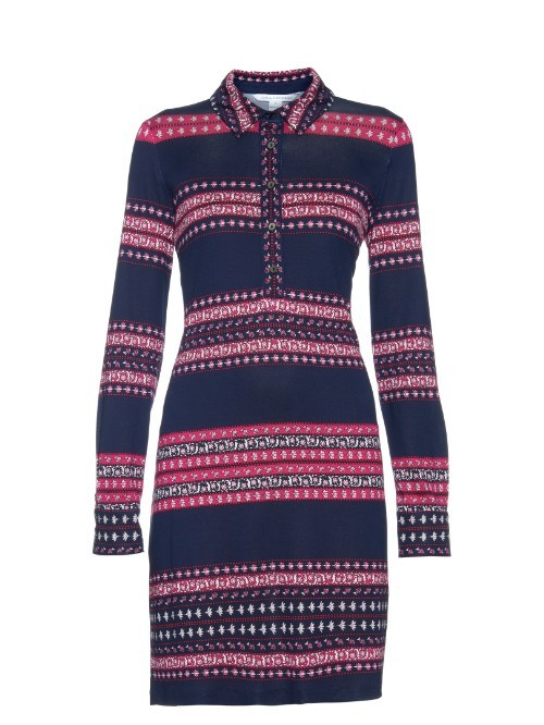 Chemise Dress - style: shirt; length: mid thigh; neckline: shirt collar/peter pan/zip with opening; pattern: horizontal stripes; secondary colour: hot pink; predominant colour: navy; occasions: evening; fit: body skimming; fibres: silk - 100%; sleeve length: long sleeve; sleeve style: standard; pattern type: fabric; texture group: other - light to midweight; multicoloured: multicoloured; season: s/s 2016; wardrobe: event