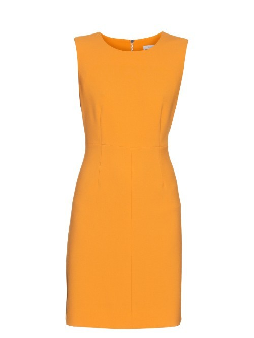 Carrie Dress - style: shift; fit: tailored/fitted; pattern: plain; sleeve style: sleeveless; predominant colour: bright orange; occasions: evening; length: just above the knee; fibres: polyester/polyamide - stretch; neckline: crew; sleeve length: sleeveless; pattern type: fabric; texture group: other - light to midweight; season: s/s 2016