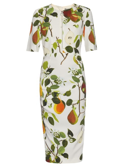 Clelia Dress - style: shift; predominant colour: ivory/cream; secondary colour: khaki; occasions: evening; length: on the knee; fit: body skimming; fibres: viscose/rayon - stretch; neckline: crew; sleeve length: short sleeve; sleeve style: standard; pattern type: fabric; pattern: florals; texture group: jersey - stretchy/drapey; multicoloured: multicoloured; season: s/s 2016