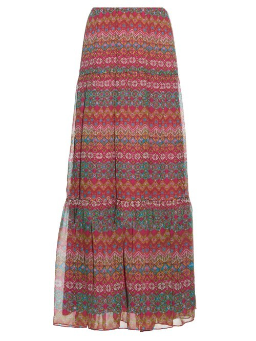 Baylee Skirt - fit: body skimming; waist: mid/regular rise; predominant colour: hot pink; secondary colour: mid grey; occasions: casual; length: floor length; style: maxi skirt; fibres: silk - 100%; texture group: sheer fabrics/chiffon/organza etc.; pattern type: fabric; pattern: patterned/print; multicoloured: multicoloured; season: s/s 2016; wardrobe: highlight
