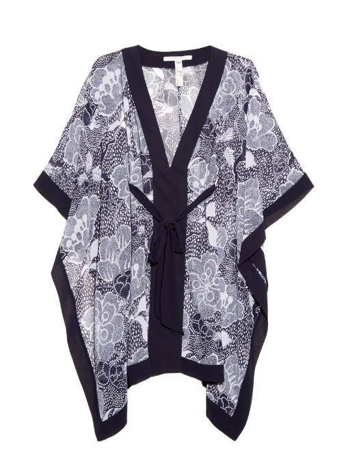 Maldives Kimono - neckline: v-neck; length: below the bottom; style: kaftan; waist detail: belted waist/tie at waist/drawstring; predominant colour: mid grey; secondary colour: black; fibres: polyester/polyamide - 100%; fit: loose; sleeve length: short sleeve; sleeve style: standard; occasions: holiday; pattern type: fabric; pattern: florals; texture group: other - light to midweight; multicoloured: multicoloured; season: s/s 2016