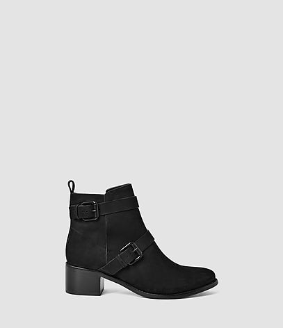 Flynn Boot - predominant colour: black; occasions: casual, creative work; material: suede; heel height: mid; embellishment: buckles; heel: block; toe: round toe; boot length: ankle boot; style: biker boot; finish: plain; pattern: plain; season: s/s 2016