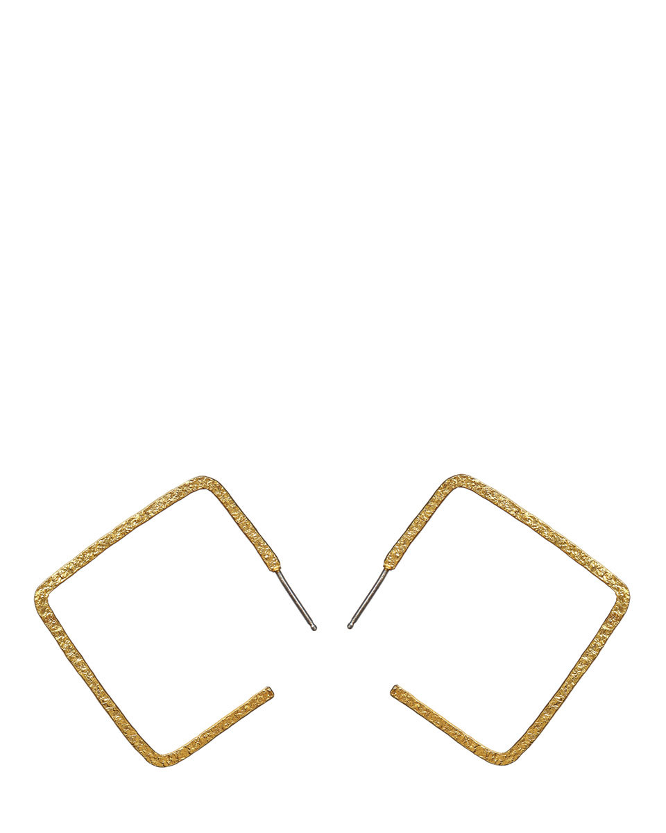 Mirabelle Square Earrings - predominant colour: gold; occasions: evening, occasion; style: hoop; length: mid; size: standard; material: chain/metal; fastening: pierced; finish: metallic; season: s/s 2016; wardrobe: event