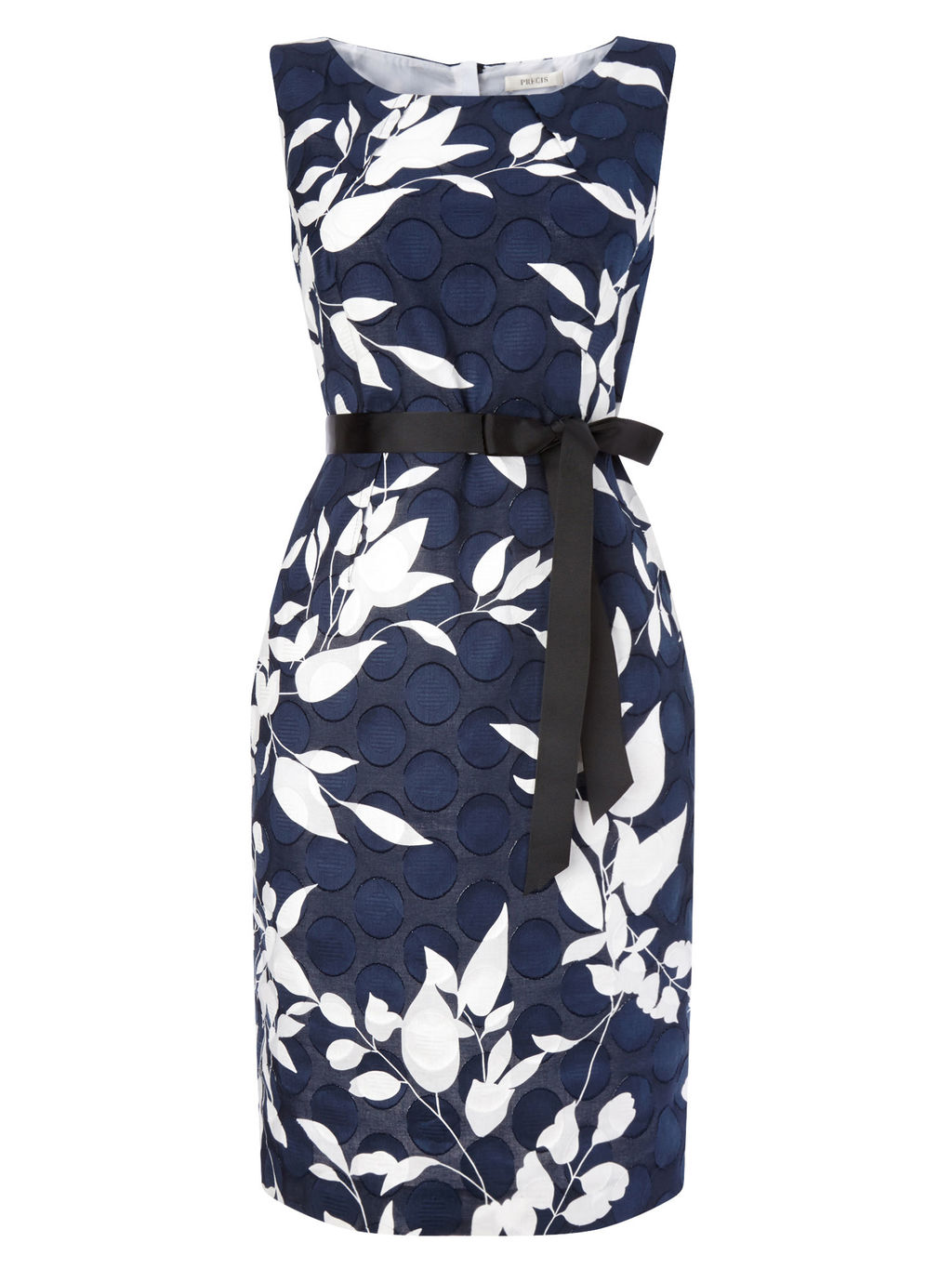 Navy Clipse Spot Dress - style: shift; neckline: round neck; sleeve style: sleeveless; waist detail: belted waist/tie at waist/drawstring; secondary colour: white; predominant colour: navy; occasions: evening; length: on the knee; fit: body skimming; fibres: cotton - 100%; sleeve length: sleeveless; pattern type: fabric; pattern: florals; texture group: woven light midweight; embellishment: bow; multicoloured: multicoloured; season: s/s 2016; wardrobe: event