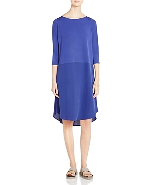 Boat Neck Silk Dress - style: shift; predominant colour: royal blue; occasions: evening; length: on the knee; fit: body skimming; fibres: silk - 100%; neckline: crew; sleeve length: 3/4 length; sleeve style: standard; pattern type: fabric; pattern: colourblock; texture group: other - light to midweight; season: s/s 2016