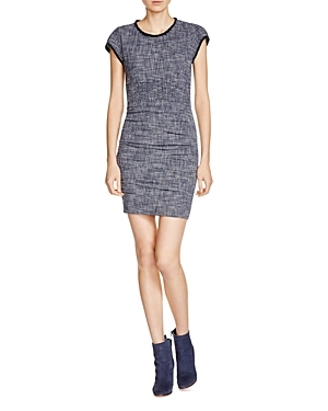 Rought Tweed Dress - style: shift; length: mini; pattern: plain; predominant colour: navy; occasions: casual; fit: body skimming; fibres: cotton - stretch; neckline: crew; sleeve length: short sleeve; sleeve style: standard; pattern type: fabric; texture group: tweed - light/midweight; season: s/s 2016; wardrobe: basic