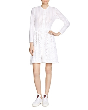 Roxo Mixed Lace Dress - pattern: plain; predominant colour: ivory/cream; occasions: evening; length: just above the knee; fit: fitted at waist & bust; style: fit & flare; fibres: polyester/polyamide - stretch; neckline: crew; sleeve length: long sleeve; sleeve style: standard; texture group: lace; pattern type: fabric; season: s/s 2016; wardrobe: event