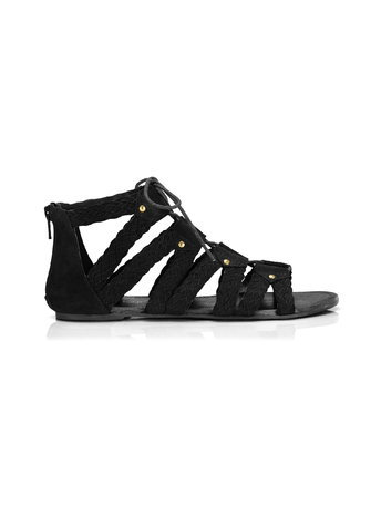 Womens Free Plaited Ghillie Sandal, Black - predominant colour: black; occasions: casual, holiday; material: suede; heel height: flat; ankle detail: ankle strap; heel: block; toe: open toe/peeptoe; style: gladiators; finish: plain; pattern: plain; season: s/s 2016; wardrobe: basic