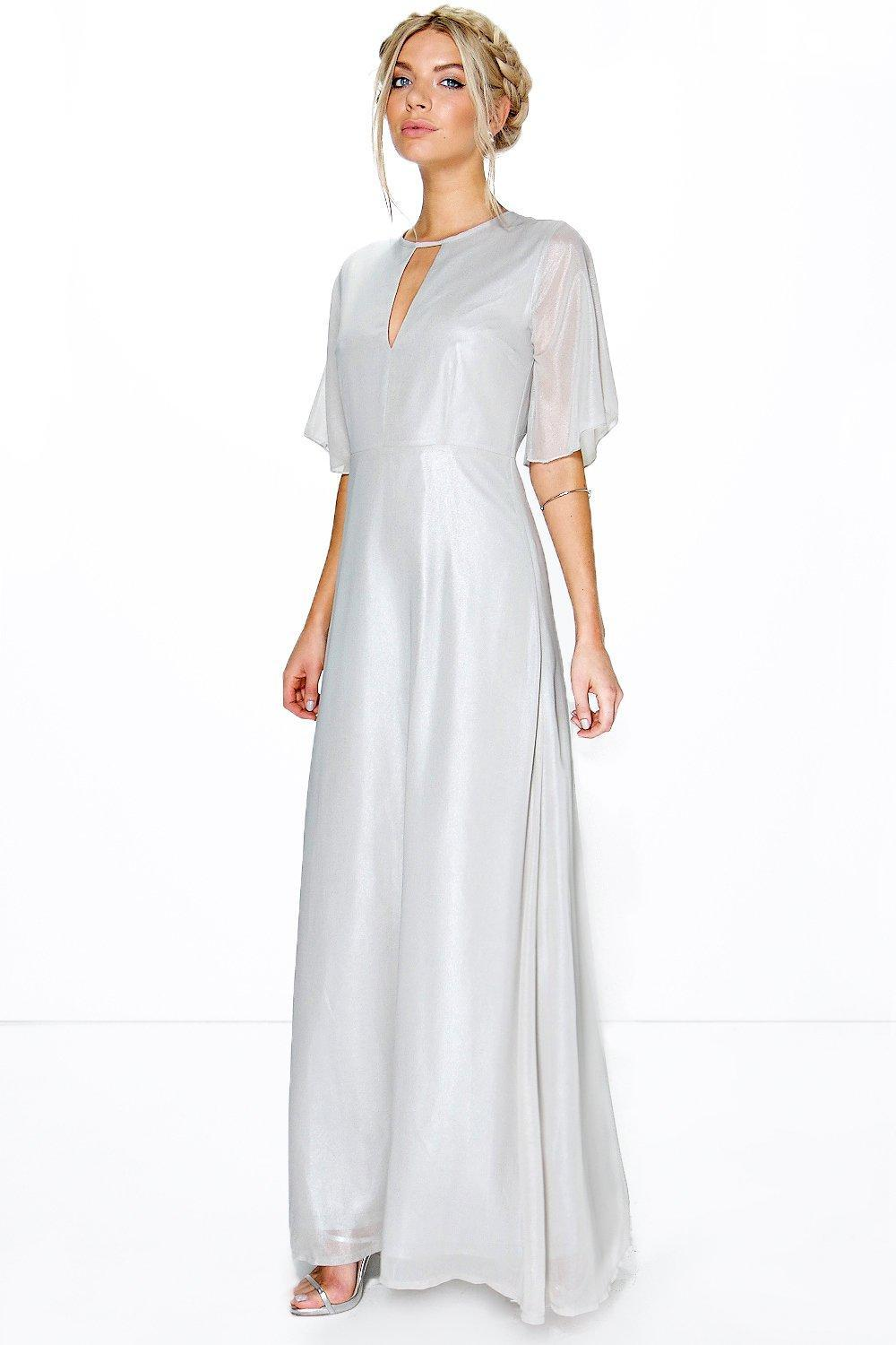Ivy Shimmer Fabric Keyhole Maxi Dress Blush - pattern: plain; style: maxi dress; predominant colour: light grey; occasions: evening; length: floor length; fit: body skimming; neckline: peep hole neckline; fibres: polyester/polyamide - 100%; sleeve length: short sleeve; sleeve style: standard; texture group: sheer fabrics/chiffon/organza etc.; pattern type: fabric; season: s/s 2016; wardrobe: event