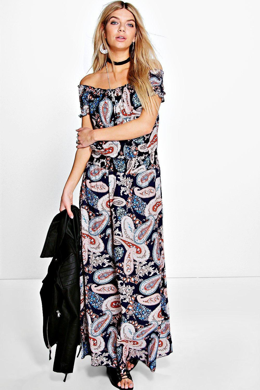 Paisley Print Woven Maxi Dress Black - neckline: off the shoulder; style: maxi dress; length: ankle length; waist detail: belted waist/tie at waist/drawstring; secondary colour: blush; predominant colour: black; occasions: evening; fit: body skimming; fibres: viscose/rayon - 100%; sleeve length: short sleeve; sleeve style: standard; pattern type: fabric; pattern: florals; texture group: jersey - stretchy/drapey; multicoloured: multicoloured; season: s/s 2016; wardrobe: event