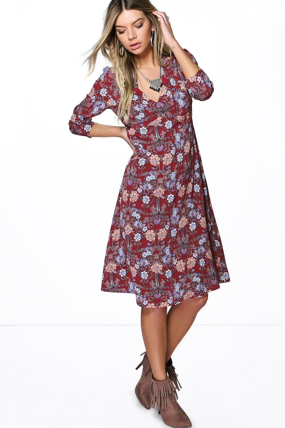 Floral V Neck Gypsy Dress Berry - style: shift; neckline: v-neck; secondary colour: pale blue; occasions: casual; length: on the knee; fit: body skimming; fibres: polyester/polyamide - 100%; sleeve length: 3/4 length; sleeve style: standard; pattern type: fabric; pattern: florals; texture group: other - light to midweight; predominant colour: raspberry; multicoloured: multicoloured; season: s/s 2016; wardrobe: highlight