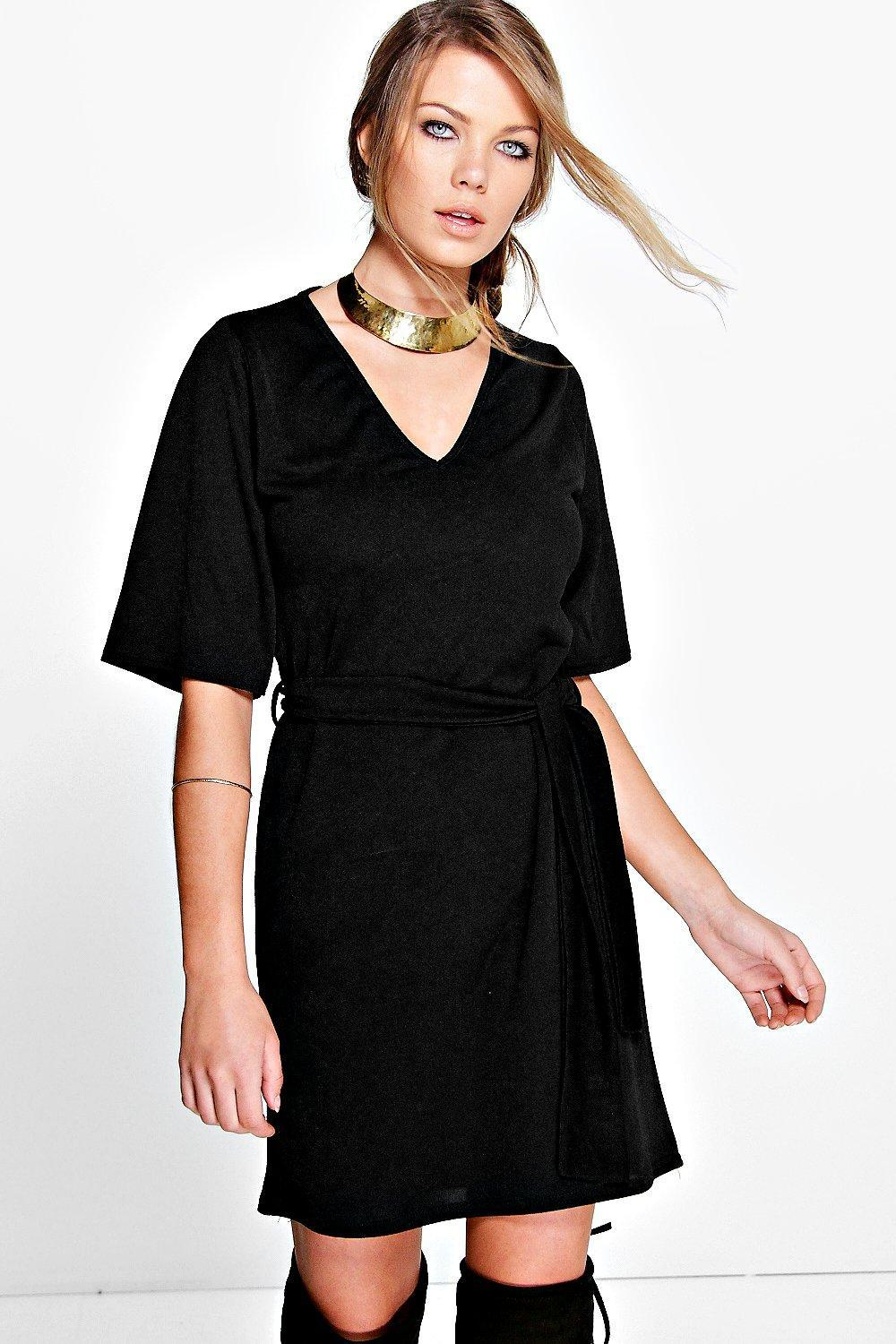 Kimono Sleeve Obi Belt Shift Dress Black - style: shift; length: mid thigh; neckline: v-neck; pattern: plain; waist detail: belted waist/tie at waist/drawstring; predominant colour: black; occasions: evening; fit: body skimming; fibres: polyester/polyamide - stretch; sleeve length: half sleeve; sleeve style: standard; pattern type: fabric; texture group: jersey - stretchy/drapey; season: s/s 2016; wardrobe: event