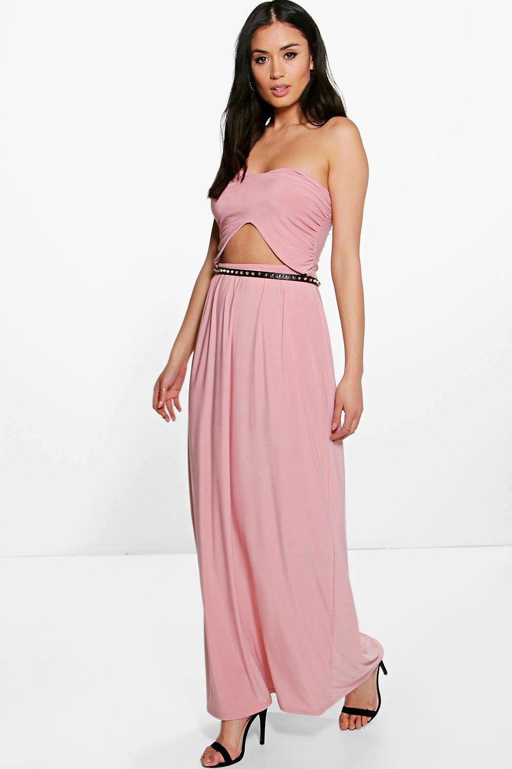 Front Cut Out Bandeau Maxi Dress Black - neckline: strapless (straight/sweetheart); pattern: plain; sleeve style: sleeveless; style: maxi dress; waist detail: belted waist/tie at waist/drawstring; predominant colour: pink; occasions: evening; length: floor length; fit: body skimming; fibres: polyester/polyamide - stretch; sleeve length: sleeveless; pattern type: fabric; texture group: jersey - stretchy/drapey; season: s/s 2016; wardrobe: event