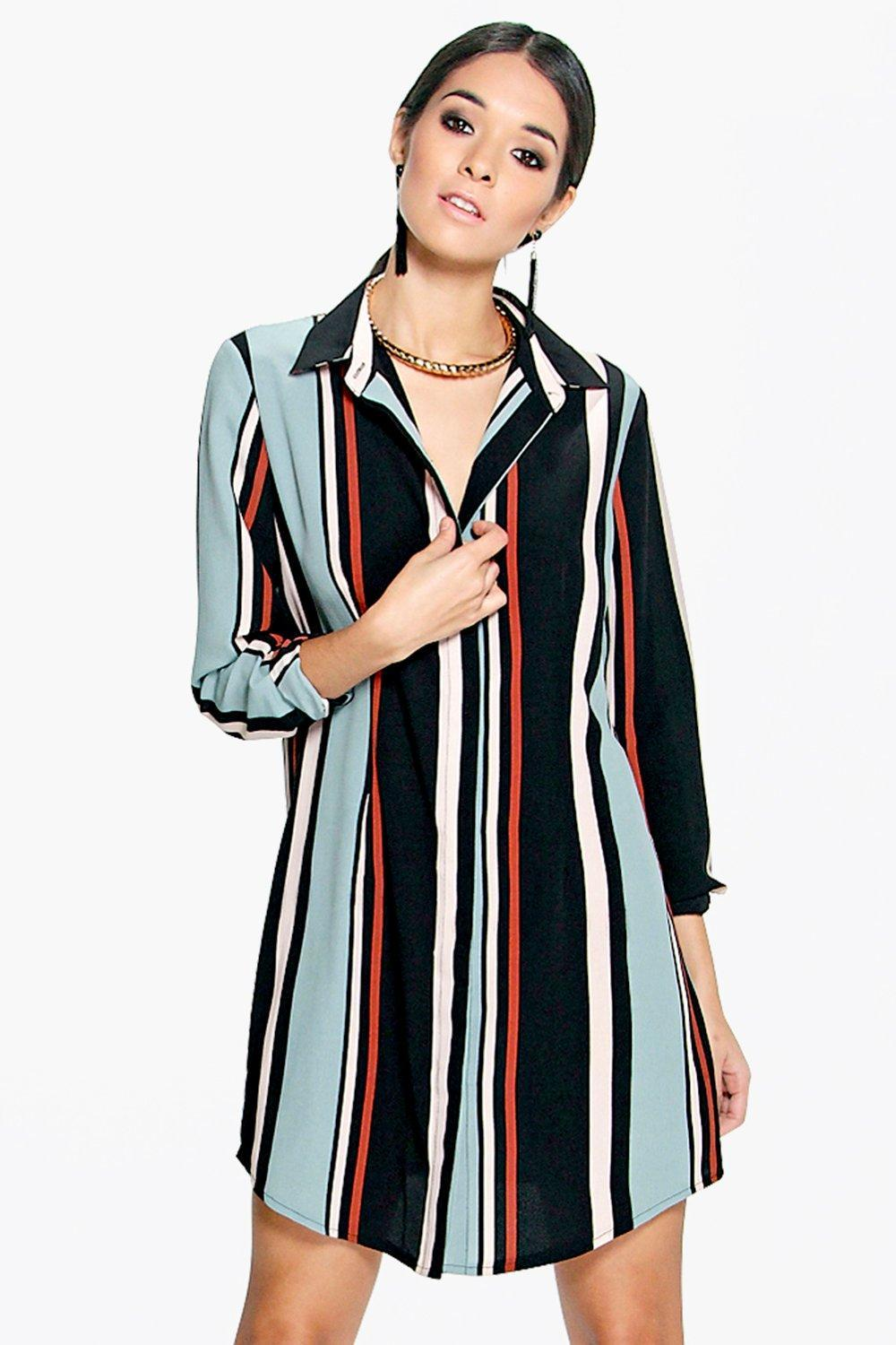 Long Sleeve Stripe Shirt Dress Multi - style: shirt; neckline: shirt collar/peter pan/zip with opening; pattern: vertical stripes; secondary colour: pale blue; predominant colour: navy; occasions: evening; length: just above the knee; fit: body skimming; fibres: polyester/polyamide - 100%; sleeve length: long sleeve; sleeve style: standard; pattern type: fabric; texture group: other - light to midweight; multicoloured: multicoloured; season: s/s 2016; wardrobe: event