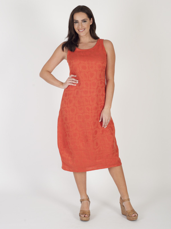 Orange Jacquard Sleeveless Dress - length: below the knee; sleeve style: standard vest straps/shoulder straps; style: vest; predominant colour: coral; occasions: casual; fit: straight cut; neckline: scoop; fibres: cotton - mix; sleeve length: sleeveless; pattern type: fabric; pattern size: light/subtle; pattern: patterned/print; texture group: brocade/jacquard; season: s/s 2016; wardrobe: highlight