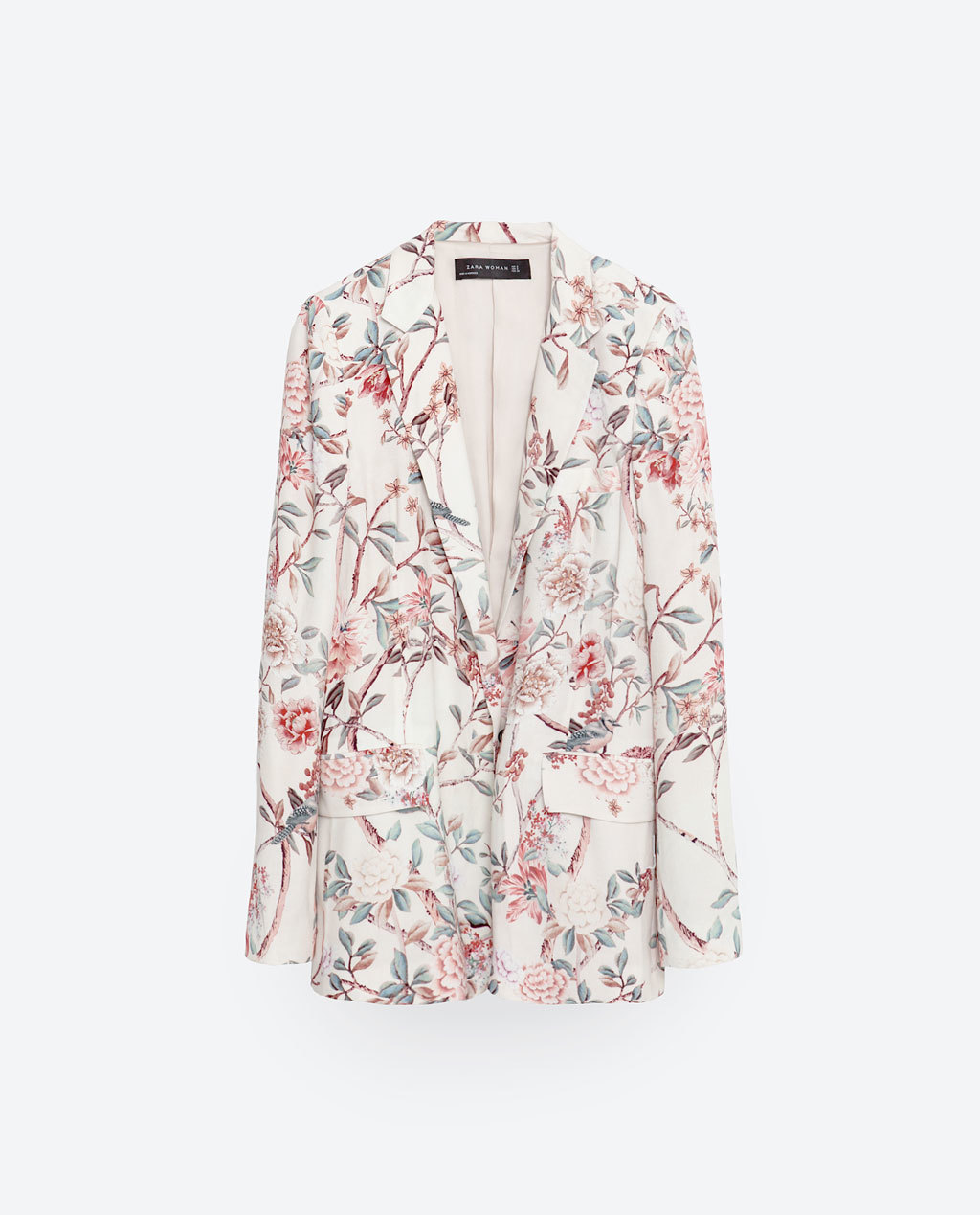 Long Printed Jacket - style: single breasted blazer; length: below the bottom; collar: standard lapel/rever collar; predominant colour: ivory/cream; secondary colour: terracotta; occasions: casual, creative work; fit: tailored/fitted; fibres: polyester/polyamide - 100%; sleeve length: long sleeve; sleeve style: standard; collar break: low/open; pattern type: fabric; pattern: florals; texture group: woven light midweight; multicoloured: multicoloured; season: s/s 2016; wardrobe: highlight; embellishment location: hip