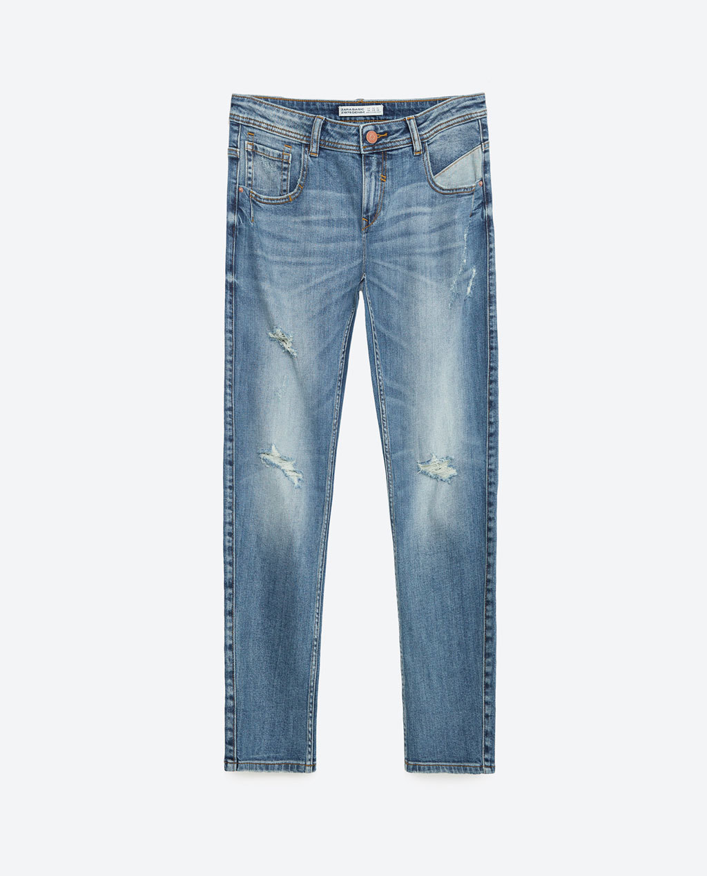 Relax Fit Mid Rise Jeans - length: standard; pattern: plain; pocket detail: traditional 5 pocket; waist: mid/regular rise; style: tapered; predominant colour: denim; occasions: casual; fibres: cotton - stretch; jeans detail: shading down centre of thigh, rips; texture group: denim; pattern type: fabric; season: s/s 2016; wardrobe: basic