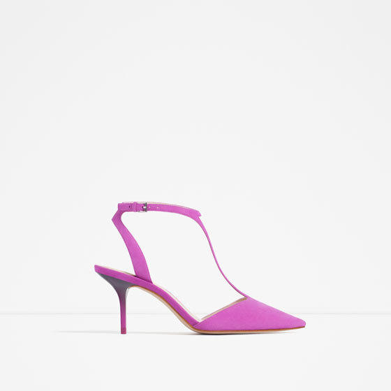 Mid Heel Leather Shoes With Ankle Strap - predominant colour: magenta; occasions: evening, occasion; material: faux leather; heel height: high; ankle detail: ankle strap; heel: stiletto; toe: pointed toe; style: slingbacks; finish: plain; pattern: plain; season: s/s 2016
