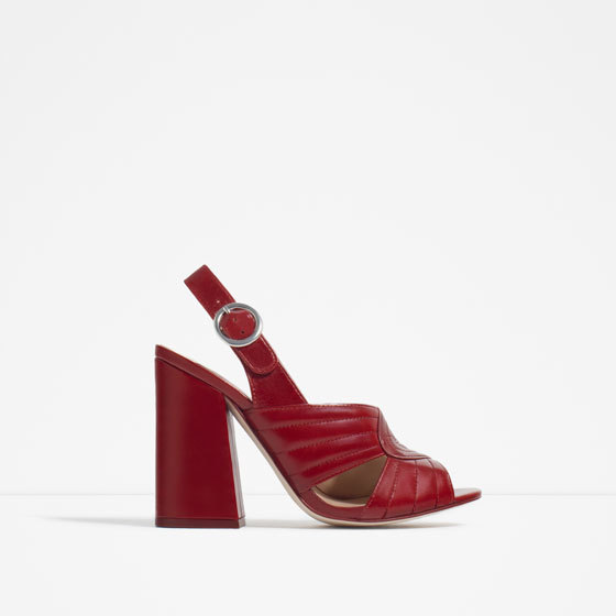 Leather High Heel Sandals - material: leather; heel height: high; ankle detail: ankle strap; heel: block; toe: open toe/peeptoe; style: standard; finish: plain; pattern: plain; predominant colour: raspberry; occasions: creative work; season: s/s 2016; wardrobe: highlight