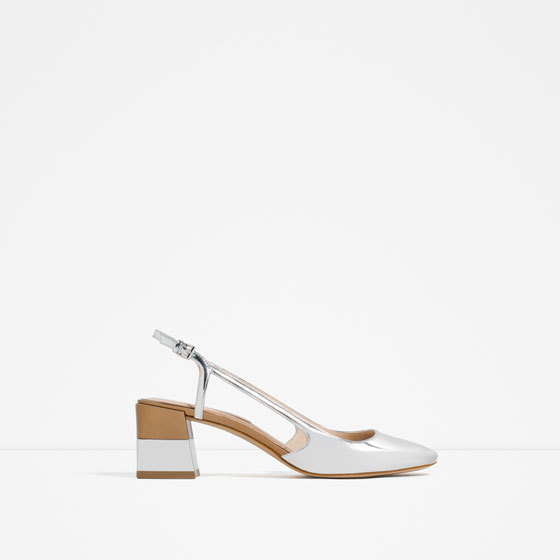 Laminated Block Heel Shoes - predominant colour: ivory/cream; occasions: evening; material: faux leather; heel height: mid; heel: block; toe: round toe; style: slingbacks; finish: patent; pattern: plain; season: s/s 2016; wardrobe: event