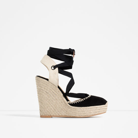 Bow Detail Leather Wedges - predominant colour: black; occasions: casual, holiday; material: leather; ankle detail: ankle strap; heel: wedge; toe: round toe; finish: plain; pattern: plain; heel height: very high; shoe detail: platform; style: espadrilles; season: s/s 2016; wardrobe: highlight