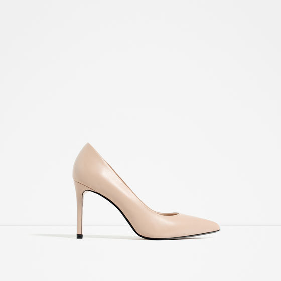 Leather High Heel Shoes - predominant colour: nude; occasions: evening, occasion; material: leather; heel height: high; heel: stiletto; toe: pointed toe; style: courts; finish: metallic; pattern: plain; season: s/s 2016; wardrobe: event