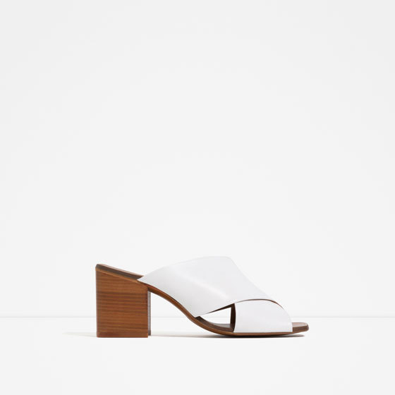 High Heel Crossover Leather Sandals - predominant colour: black; occasions: evening, holiday; material: faux leather; heel height: mid; heel: block; toe: open toe/peeptoe; style: slides; finish: plain; pattern: plain; season: s/s 2016; wardrobe: highlight