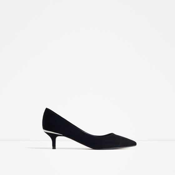 Mid Heel Shoes With Metallic Detail - predominant colour: black; occasions: evening, work; material: suede; heel height: mid; heel: kitten; toe: pointed toe; style: courts; finish: plain; pattern: plain; season: s/s 2016; wardrobe: investment