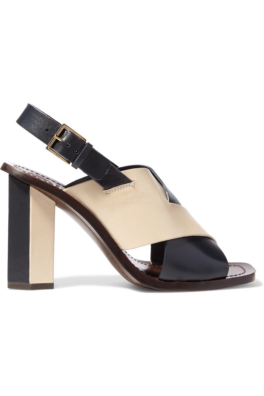 Bleecker Two Tone Leather Sandals Navy - secondary colour: ivory/cream; predominant colour: navy; occasions: evening, occasion; material: leather; heel height: high; ankle detail: ankle strap; heel: block; toe: open toe/peeptoe; style: strappy; finish: plain; pattern: colourblock; season: s/s 2016; wardrobe: event