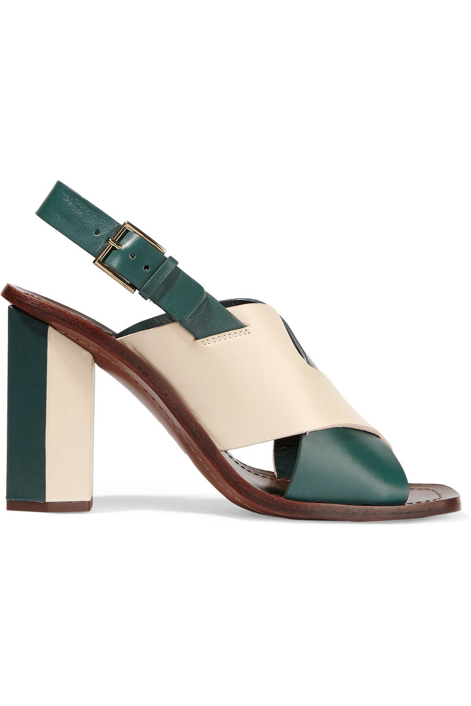 Bleecker Two Tone Leather Sandals Emerald - secondary colour: ivory/cream; predominant colour: emerald green; occasions: evening; material: leather; heel height: high; ankle detail: ankle strap; heel: block; toe: open toe/peeptoe; style: strappy; finish: plain; pattern: colourblock; season: s/s 2016; wardrobe: event
