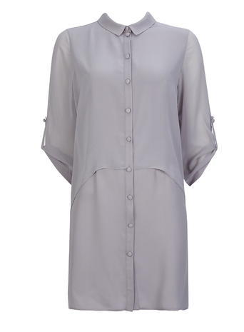 Womens Wallis Grey Double Layer Shirt, Grey - neckline: shirt collar/peter pan/zip with opening; pattern: plain; style: shirt; predominant colour: light grey; occasions: casual, creative work; fibres: polyester/polyamide - 100%; fit: body skimming; length: mid thigh; sleeve length: 3/4 length; sleeve style: standard; texture group: sheer fabrics/chiffon/organza etc.; pattern type: fabric; season: s/s 2016; wardrobe: basic