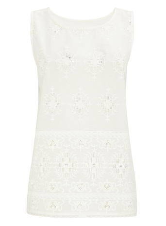Womens Sleeveless Geo Embroidered Vest, Ivory, Ivory - neckline: round neck; sleeve style: sleeveless; predominant colour: white; occasions: casual; length: standard; style: top; fibres: linen - mix; fit: straight cut; sleeve length: sleeveless; pattern type: fabric; pattern size: standard; pattern: patterned/print; embellishment: embroidered; texture group: broiderie anglais; season: s/s 2016