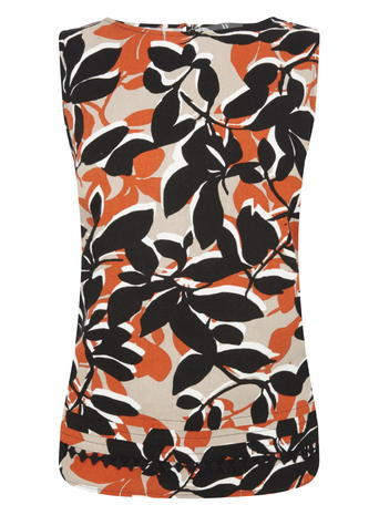 Womens Sleeveless Printed Shell Top, Black/Orange, Stone/Multi - neckline: slash/boat neckline; sleeve style: sleeveless; predominant colour: bright orange; secondary colour: black; occasions: casual; length: standard; style: top; fibres: linen - mix; fit: body skimming; sleeve length: sleeveless; pattern type: fabric; pattern: florals; texture group: jersey - stretchy/drapey; multicoloured: multicoloured; season: s/s 2016