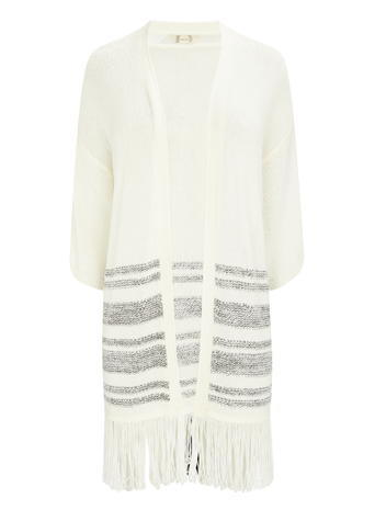 Womens Striped Tasselled Kimono Cardi, Ivory, Ivory - pattern: horizontal stripes; neckline: collarless open; style: open front; predominant colour: ivory/cream; secondary colour: mid grey; occasions: casual; fibres: acrylic - 100%; fit: loose; length: mid thigh; sleeve length: long sleeve; sleeve style: standard; texture group: knits/crochet; pattern type: knitted - other; embellishment: fringing; multicoloured: multicoloured; season: s/s 2016; wardrobe: highlight; embellishment location: hem