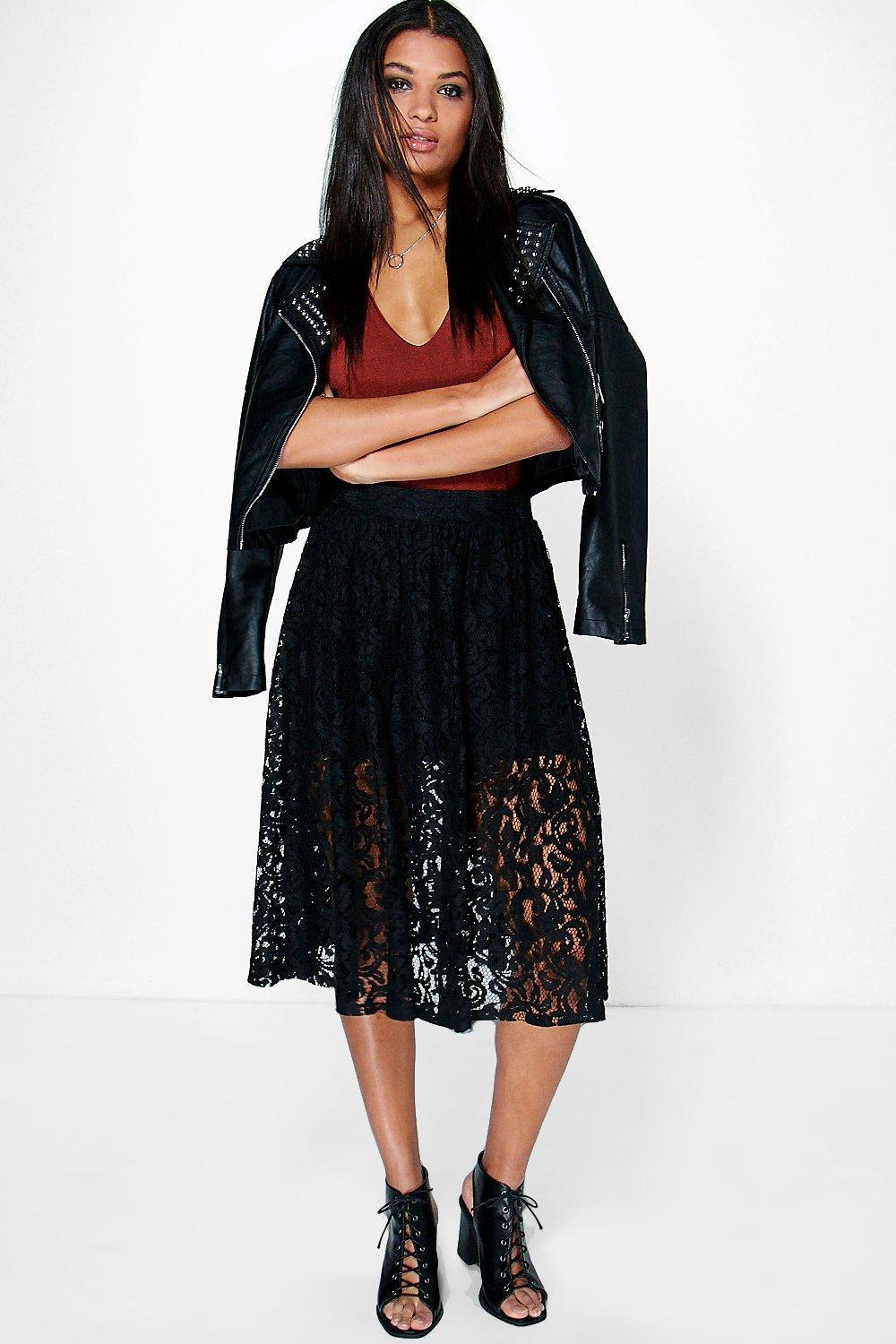 Full Lace Knee Length Skirt Nude - length: below the knee; style: full/prom skirt; fit: loose/voluminous; waist: high rise; predominant colour: black; occasions: evening; fibres: polyester/polyamide - stretch; hip detail: soft pleats at hip/draping at hip/flared at hip; texture group: lace; pattern type: fabric; pattern: patterned/print; embellishment: lace; season: s/s 2016; wardrobe: event