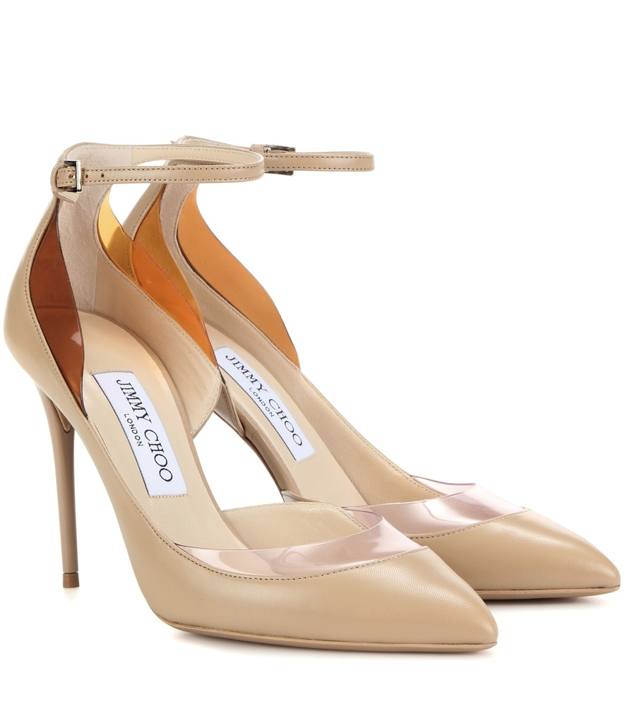 Luc 100 Leather Pumps - predominant colour: nude; occasions: evening; material: leather; heel height: high; ankle detail: ankle strap; heel: stiletto; toe: pointed toe; style: courts; finish: patent; pattern: plain; season: s/s 2016; wardrobe: event