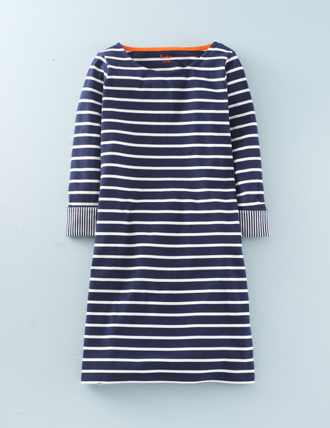 Bestselling Breton Tunic Dress Navy, Navy/Ivory - neckline: round neck; pattern: horizontal stripes; style: tunic; secondary colour: white; predominant colour: navy; occasions: casual, creative work; fibres: cotton - 100%; fit: body skimming; length: mid thigh; sleeve length: 3/4 length; sleeve style: standard; pattern type: fabric; pattern size: standard; texture group: jersey - stretchy/drapey; season: s/s 2016; wardrobe: basic