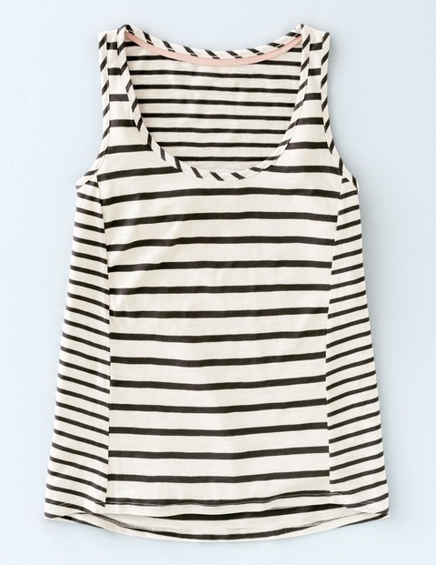 Stripe Seam Vest Ivory/Charcoal Women, Ivory/Charcoal - pattern: horizontal stripes; sleeve style: sleeveless; style: vest top; secondary colour: white; predominant colour: black; occasions: casual; length: standard; neckline: scoop; fibres: cotton - 100%; fit: body skimming; sleeve length: sleeveless; pattern type: fabric; texture group: other - light to midweight; multicoloured: multicoloured; season: s/s 2016; wardrobe: basic