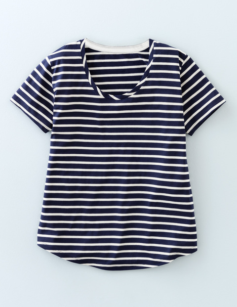 Supersoft Swing Tee Navy/Ivory Women, Navy/Ivory - pattern: horizontal stripes; secondary colour: white; predominant colour: navy; occasions: casual; length: standard; fibres: cotton - mix; fit: body skimming; style: a-line; neckline: crew; sleeve length: short sleeve; sleeve style: standard; pattern type: fabric; texture group: jersey - stretchy/drapey; multicoloured: multicoloured; season: s/s 2016; wardrobe: basic