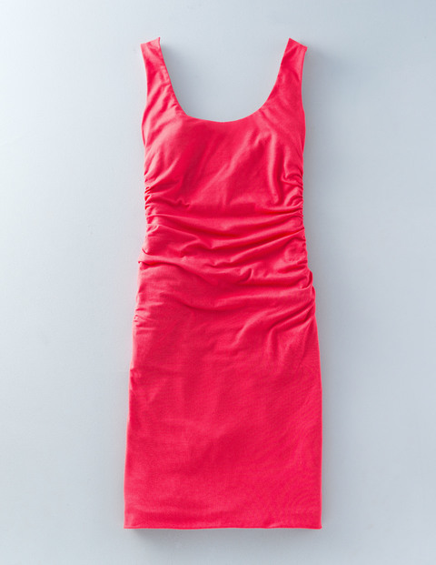 Scoop Neck Ruched Dress Coral Women, Coral - style: shift; neckline: round neck; pattern: plain; sleeve style: sleeveless; predominant colour: coral; occasions: casual; length: just above the knee; fit: body skimming; fibres: cotton - stretch; sleeve length: sleeveless; pattern type: fabric; texture group: jersey - stretchy/drapey; season: s/s 2016; wardrobe: highlight