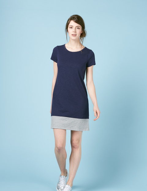 Slub T Shirt Dress Navy/Grey Marl Women, Navy/Grey Marl - style: shift; length: mid thigh; predominant colour: navy; secondary colour: light grey; occasions: casual; fit: body skimming; fibres: cotton - 100%; neckline: crew; sleeve length: short sleeve; sleeve style: standard; pattern type: fabric; pattern: colourblock; texture group: jersey - stretchy/drapey; multicoloured: multicoloured; season: s/s 2016