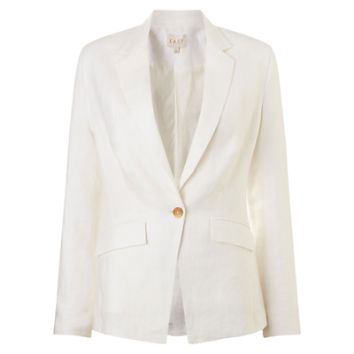 Tailored Linen Jacket, Pearl - pattern: plain; style: single breasted blazer; collar: standard lapel/rever collar; predominant colour: ivory/cream; length: standard; fit: tailored/fitted; fibres: linen - 100%; occasions: occasion, creative work; sleeve length: long sleeve; sleeve style: standard; texture group: linen; collar break: medium; pattern type: fabric; season: s/s 2016