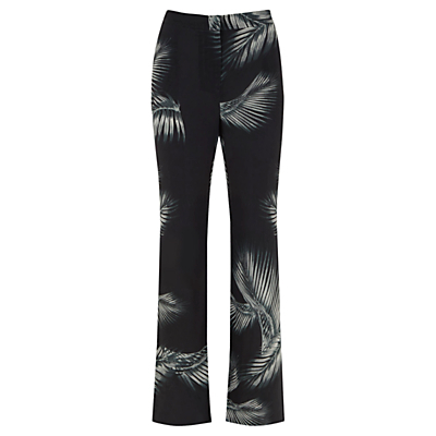 Kiya Print Soft Flare Trousers, Multi - length: standard; waist: high rise; secondary colour: light grey; predominant colour: black; fibres: viscose/rayon - 100%; fit: bootcut; pattern type: fabric; pattern: patterned/print; texture group: other - light to midweight; style: standard; occasions: creative work; pattern size: standard (bottom); season: s/s 2016; wardrobe: highlight