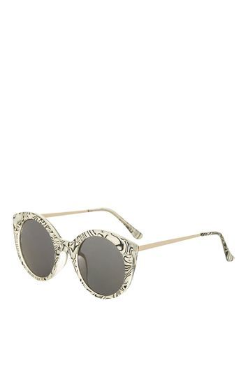 Cactus Preppy Cateye Sunglasses - predominant colour: white; secondary colour: black; occasions: casual, holiday; style: round; size: standard; material: plastic/rubber; finish: metallic; pattern: patterned/print; season: s/s 2016; wardrobe: highlight