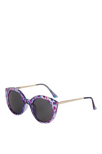 Cactus Preppy Cateye Sunglasses - predominant colour: lilac; secondary colour: magenta; occasions: casual, holiday; style: round; size: standard; material: plastic/rubber; finish: metallic; pattern: patterned/print; multicoloured: multicoloured; season: s/s 2016; wardrobe: highlight