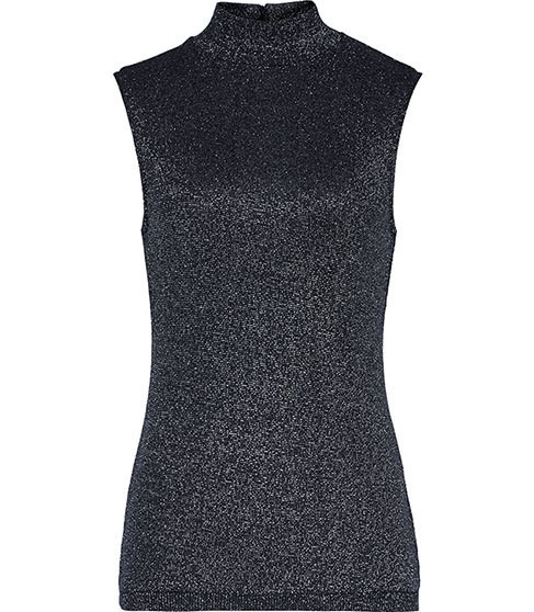 Amie Metallic Knitted Top - pattern: plain; sleeve style: sleeveless; neckline: high neck; predominant colour: navy; length: standard; style: top; fit: body skimming; sleeve length: sleeveless; texture group: knits/crochet; pattern type: knitted - fine stitch; fibres: viscose/rayon - mix; occasions: creative work; season: s/s 2016; wardrobe: basic