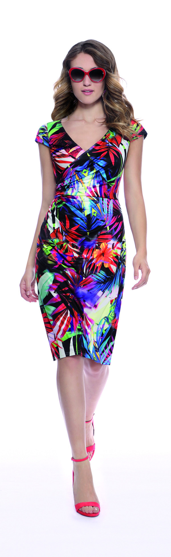 Michaela Louisa Tropical Print Jersey Dress - length: below the knee; neckline: v-neck; sleeve style: capped; fit: tight; style: bodycon; predominant colour: royal blue; secondary colour: black; occasions: evening; fibres: viscose/rayon - stretch; sleeve length: short sleeve; texture group: jersey - clingy; pattern type: fabric; pattern: patterned/print; multicoloured: multicoloured; season: s/s 2016; wardrobe: event
