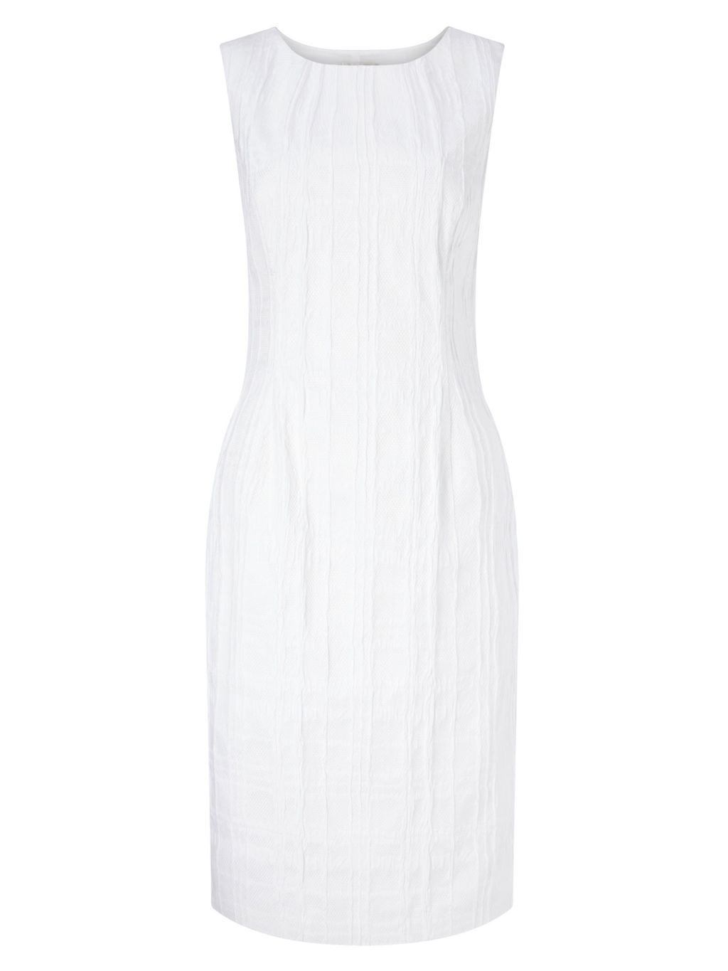 Textured Shift Dress, Ivory - style: shift; neckline: round neck; fit: tailored/fitted; pattern: plain; sleeve style: sleeveless; predominant colour: white; occasions: casual, occasion, creative work; length: just above the knee; fibres: cotton - stretch; sleeve length: sleeveless; texture group: cotton feel fabrics; pattern type: fabric; season: s/s 2016; wardrobe: basic